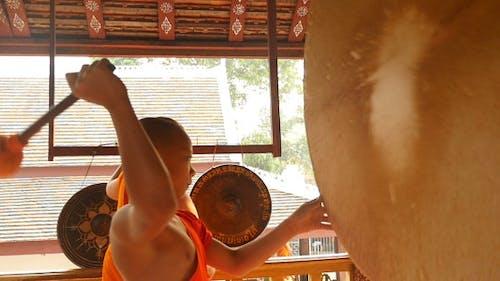 Buddhist Monk Drumming