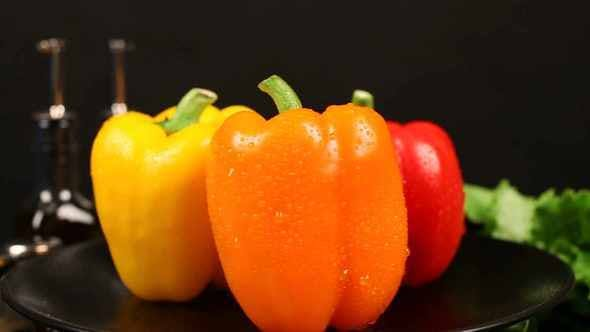 Thumbnail for Three Varieties Of Peppers Turn In Center
