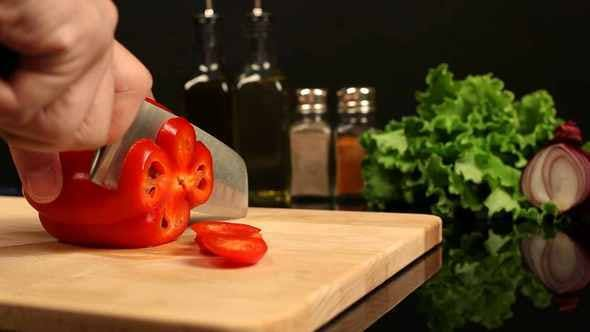 Thumbnail for Man Chopped Red Bell Pepper