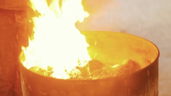 Thumbnail for Fire Flames In The Barrel Is Ignited Gasoline