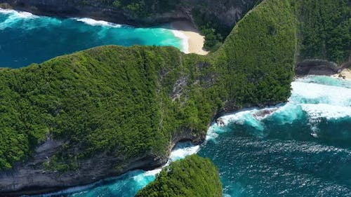 Aerial View at Sea and Rocks. Turquoise Water Background from Top View.