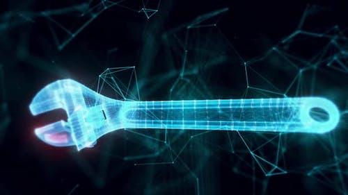 Einstellbarer Schraubenschlüssel Hologramm Close Up Hd