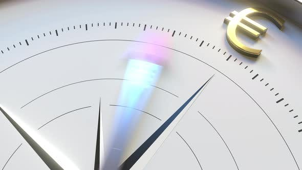 Thumbnail for Compass Arrow Turns Towards EUR Euro Symbol