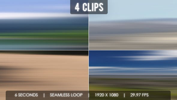 Motion Blur High Speed Landscape Journey - 4 Clips