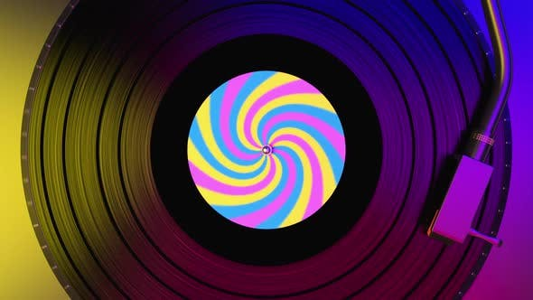 Black Vinyl Record Spinning and Play Music on Dj Turntable with Colorful Label