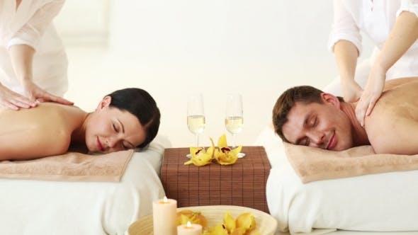 Thumbnail for Happy Couple Having Massage At Spa Salon
