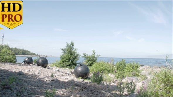 Thumbnail for Three Big Sea Mines Found on the Rocky Shore