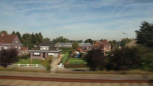 View of Passing Landscape. Belgium, Europe