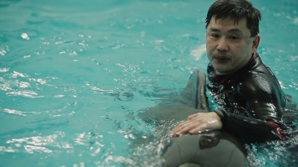 Thumbnail for Asian Man Swim With Dolphin