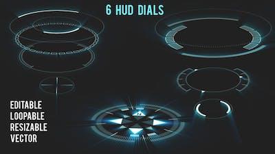 6 HUD Dials - Circular Elements