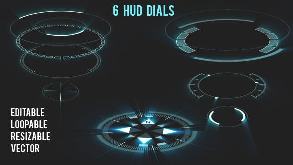 Thumbnail for 6 HUD Dials - Circular Elements
