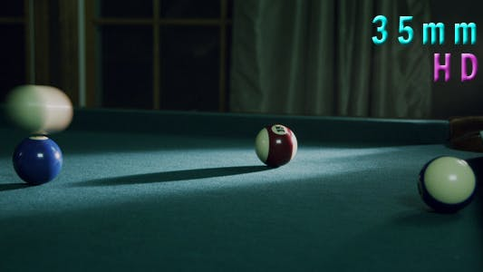 Pool Ball Hit Into Pocket By Cue Ball 09