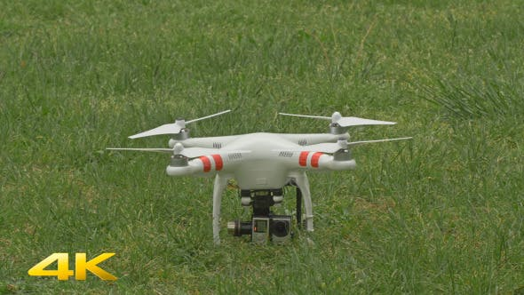 Small Quadcopter Drone Taking Off