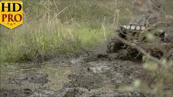 A 4x4 Offroad Vehicle Splunging on the Mud