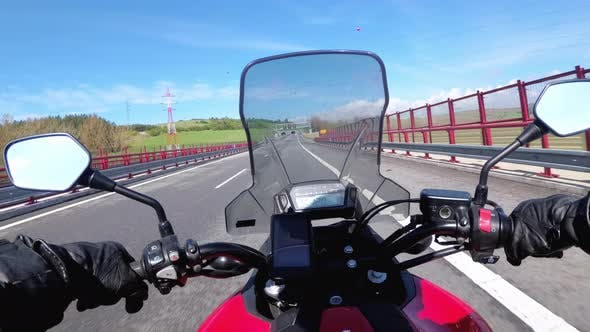 Thumbnail for Motorcyclist Riding on Highway. View From Behind the Wheel of a Motorcycle. POV