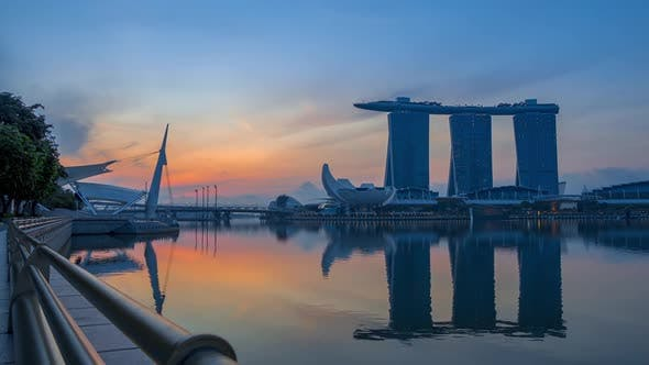 Marina Bay and Sands SkyPark at Dawn