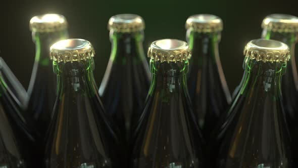 Cover Image for Multiple Green Bottles with Gold Caps