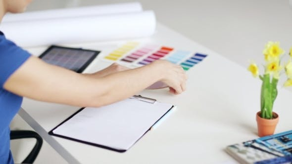 Thumbnail for Woman With Tablet Pc Choosing Color From Palettes