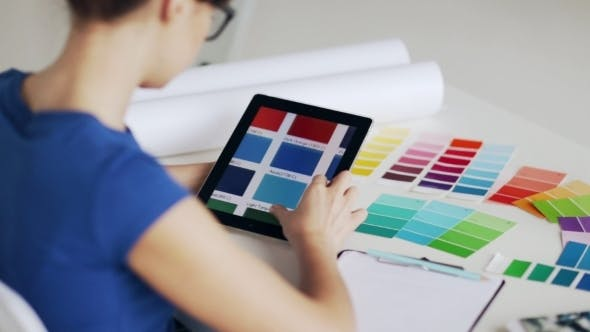 Thumbnail for Woman With Tablet Pc Choosing Color From Palette
