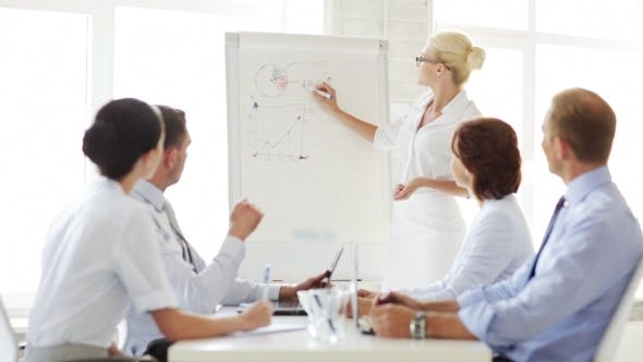Cover Image for Business People With Flip Board Having Meeting