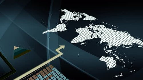 Digital Arrow Showing Global Financial Business Growth Sales Network