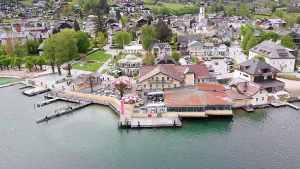 Thumbnail for Aerial View of Mountain Lake Wolfgangsee with Houses of Resort Town in Austria, Alps