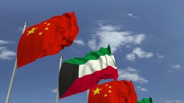 Thumbnail for Flaggen von Kuwait und China bei International Meeting