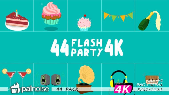 Thumbnail for Party Animations Flash Elements (44-Pack)