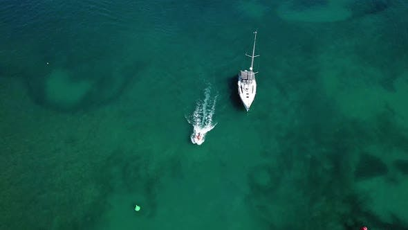 Aerial: Boats in the bay of Cala D'Or, Mallorca