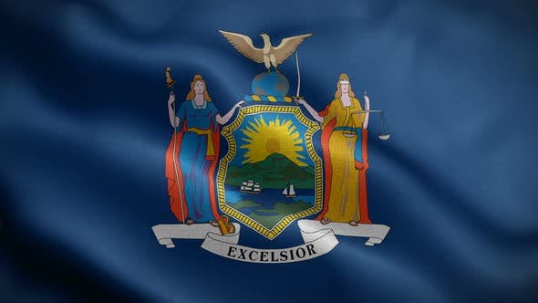 New York State Flag Blowing In Wind