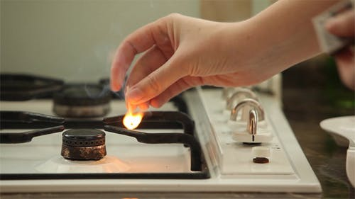 Fire To A Stove In Kitchen