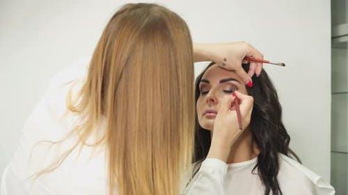 Professional make-up artist with a brush applies eye shadow to a young woman