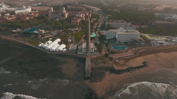 Aerial Scene of Gran Canaria Tourist Town with Maspalomas Lighthouse