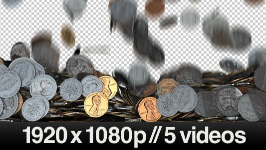 Thumbnail for 5 Videos of Coins Falling / Dropping on Screen