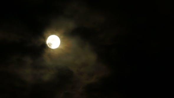 Bright Moon In Dark Clouds