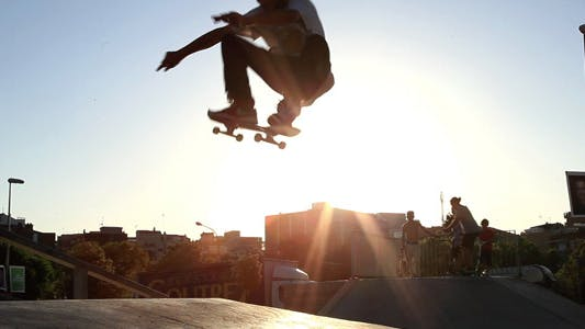Thumbnail for Skateboard Jump At Sunset
