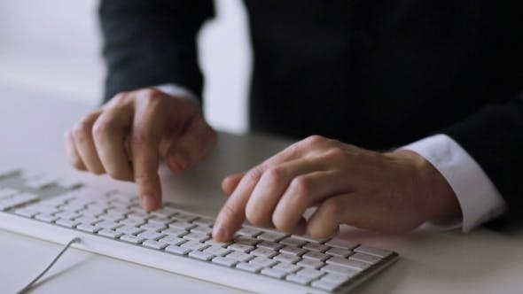 Thumbnail for Businessman Hands Typing On Keyboard