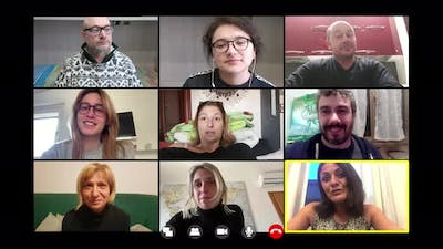 A group of friends in video call by zoom talking about work