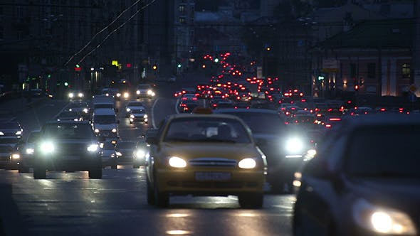 Thumbnail for Evening Car Traffic At Rush Hour In Moscow