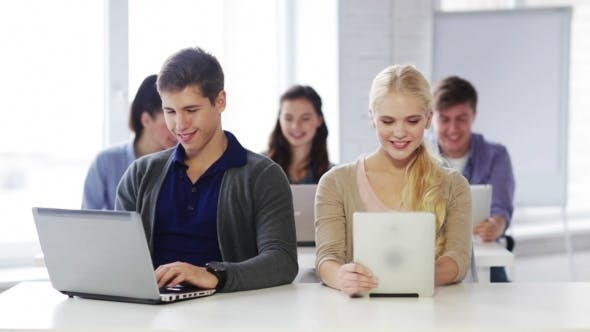 Thumbnail for Happy Students With Computers At Informatics