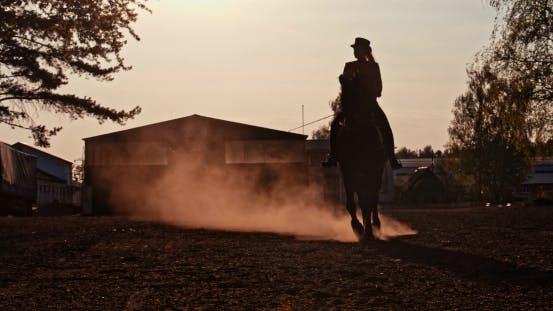 Thumbnail for Beautiful Girl  Riding a Horse Against Sun 2