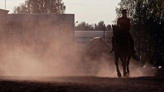 Thumbnail for Beautiful Girl  Riding a Horse Against Sun 4