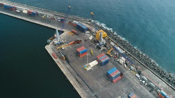 Cover Image for Aerial View Of Cargo Sea Port Dock