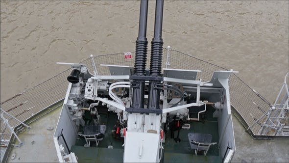 Thumbnail for Top View of the Artillery Cannon in the Warship