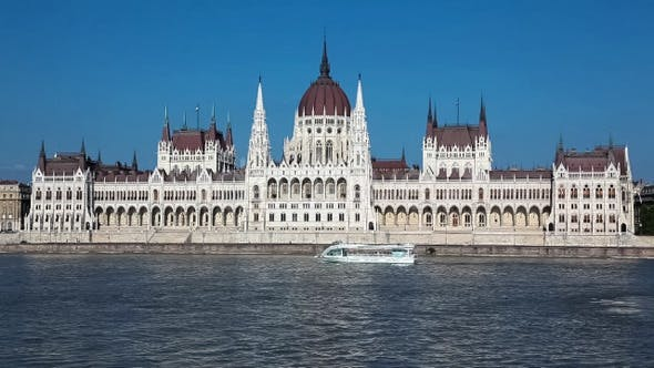 Thumbnail for Parliament Building On Danube River With Boat