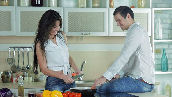Thumbnail for A Loving Couple Is Preparing A Tasty Dish