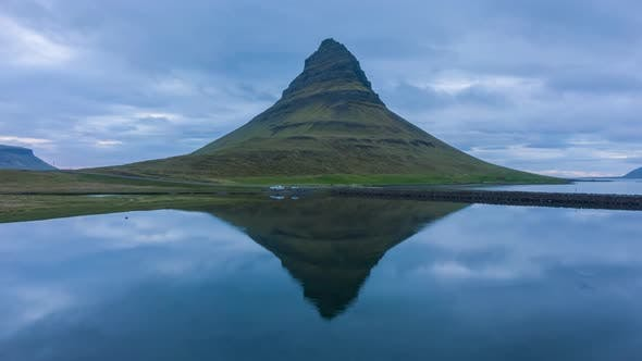 Kirkjufell Mountain and Reflection in Lake. Iceland. Aerial View