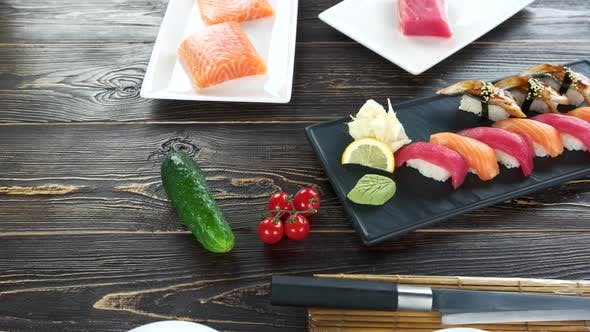Sushi Plate Wooden Table