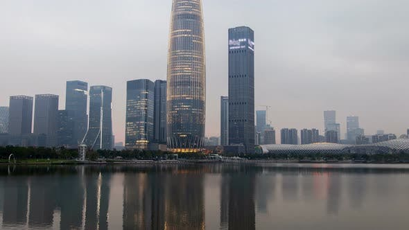 Thumbnail for Shenzhen Urban Cityscape China Timelapse with Reflection in Water Pan