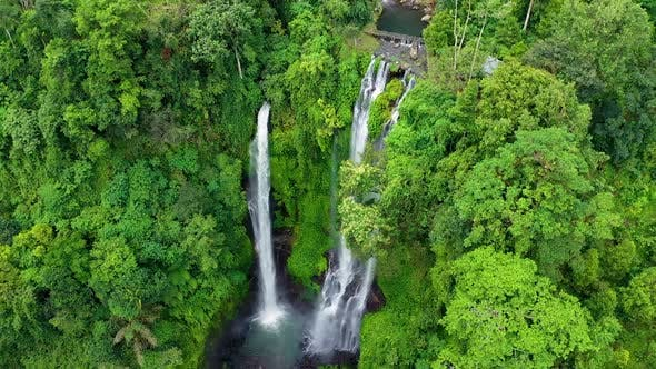 Thumbnail for Sekumpul waterfall, Bali, Indonesia. Aerial view on the waterfall. Landscape from air